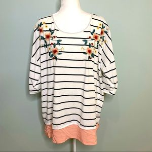 Umgee Stripe Floral Embroidered Top White Size XL
